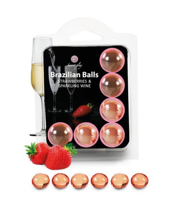 SECRET PLAY SET 6 BRAZILIAN BALLS AROMA FRESAS CAVA